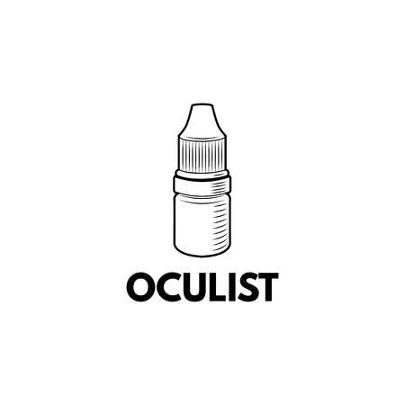 Eye drops bottle icon. Oculist inscription. Oculist logo label. Ophthalmology badge. Vector illustration