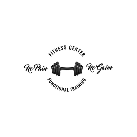 Barbel gym badge. Fitness center label emble. Dumbbell icon. Sport logo. No pain no gain text. Vector illustration