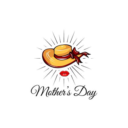 Mothers day card. Wide-brimmed hat, Lips. Mom greeting. Moms gift. Vector illustration Illustration