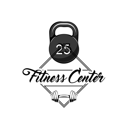 Kettlebell, barbell icon. Fitness center logo label emblem design template. Sport badges. Vecto illustration Stock Vector - 99705402