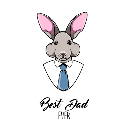 Rabbit dad. Happy Fathers day greeting card. Bunny Father. Mens shirt, Tie, Necktie. Best dad ever text. Dad greeting. Vector illustration Illustration
