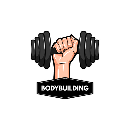 Dumbbell icon. Bodybuilding logo label. Hand holding weight. Barbell icon. Vector illustration