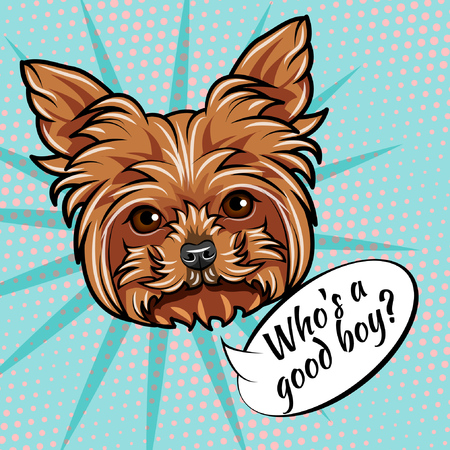Yorkshire terrier dog. Who is good boy lettering. Dog head. Yorkshire terrier muzzle, face. Vector illustration Illustration