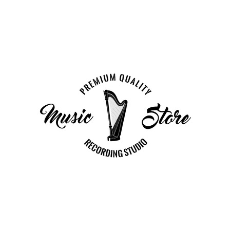 Harp icon. Music store emblem logo label. Premium quality inscription. Musical instrument. Vector illustration Illustration