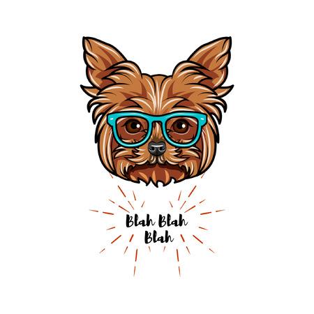 Yorkshire terrier dog geek. Smart glasses. Dog portrait. Vector illustration