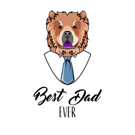 Chow Chow dad. Fathers day greeting card. Best dad ever lettering. Necktie, Mens shirt. Vector illustration