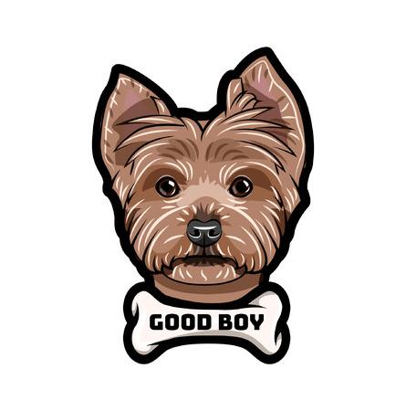 Yorkshire terrier dog. Bone. Good boy inscription. Dog breed. Vector illustration Ilustração