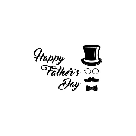 Happy Fathers day. Top hat, Bow tie, Glasses, Mustache icons. Greeting card design. Dad holiday. Vector illustration
