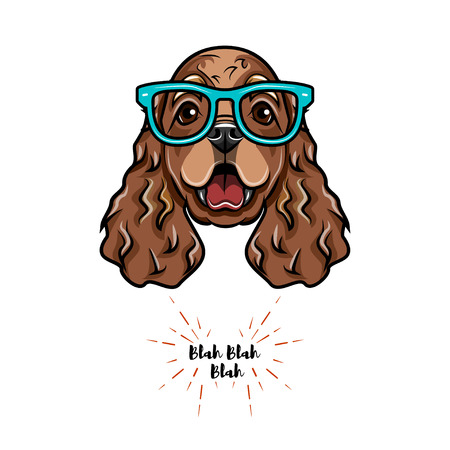 English cocker spaniel geek. Smart glasses. og portrait. Vector illustration Illustration