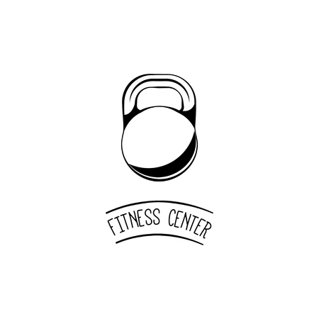 Weight sign icon, kettle bell. Fitness center label emblem, sport badge vector illustration. Illustration