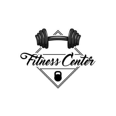 Dumbbell, Kettlebell. Fitness center label, sport logo template. Sport badge Vector illustration