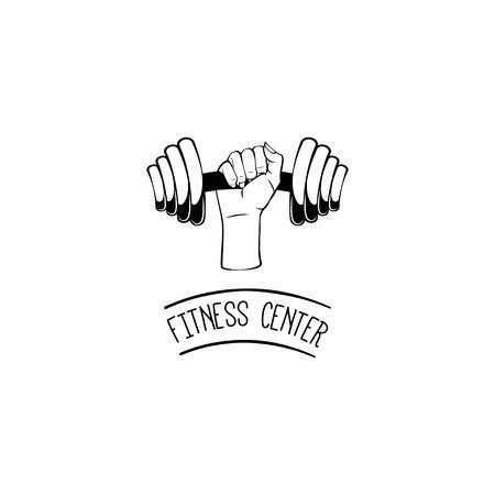 Dumbbell icon. Fitness center label logo. Hand. Fist. Sport badge Vector illustration Illustration