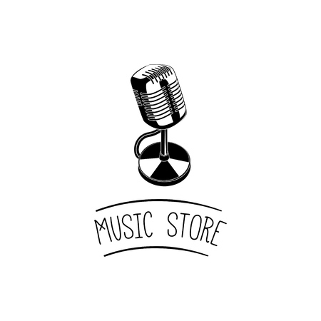 Vintage microphone icon. Music store logo label emblem. Music shop. Vector illustration