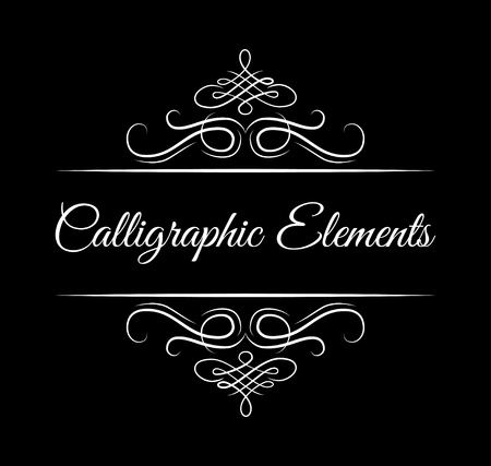 Calligraphic elements. Vintage floral swirly dividers. Retro book separators. Antique design elements. Filigree frame, Page dividers. Vector illustration