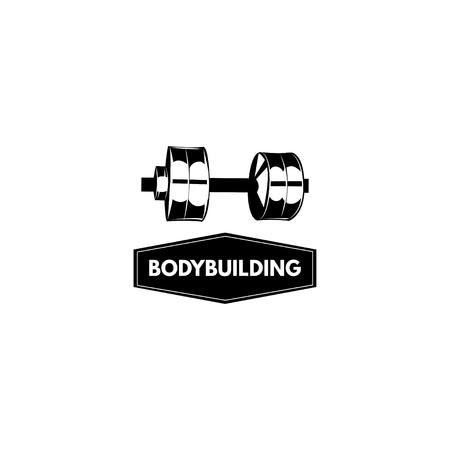 ボディービルのエンブレム、ロゴ。バーベルアイコン。スポーツバッジ。スポーツトレーニングラベル ベクトルイラスト