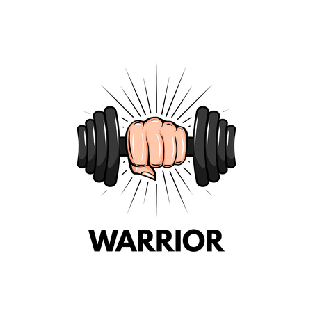 Dumbbell icon. Fist. Sport badge. Warrior inscription. Hand holding weight. Motivation poster Vector illustration