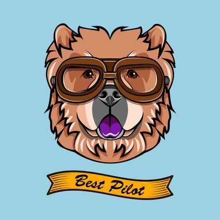Chow Chow Pilot. Dog aviator. Dog portrait. Dog breed. Vector illustration