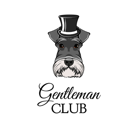 Schnauzer Dog with Top hat with Gentleman club lettering.