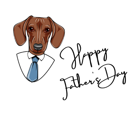 Dachshund Dad. Fathers day greeting card. Necktie, Mens shirt, Tie. Happy Fathers day greeting card. Vector illustration