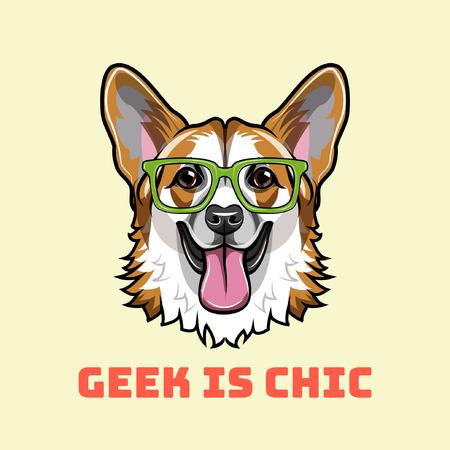 ウェールズコーギーオタク。スマートメガネ。笑顔の犬。オタクはシックなテキストです。ベクトル図