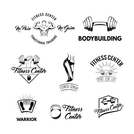 Sport icons set. Fitness center logos labels. Athletic body, Kettlebell, Barbell, Floor scale, Bodybuilding, Dumbbell. Sport equipment collection Vector illustration Illustration
