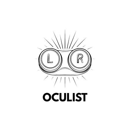 Contact lens storage case icon. Oculist logo label emblem. Lenses container. Vector illustration Illustration