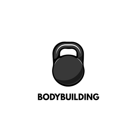 Kettlebell icon with bodybuilding typography Illustration.