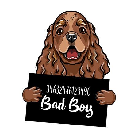 Mugshot Illustration of dog criminal, with Bad boy lettering.