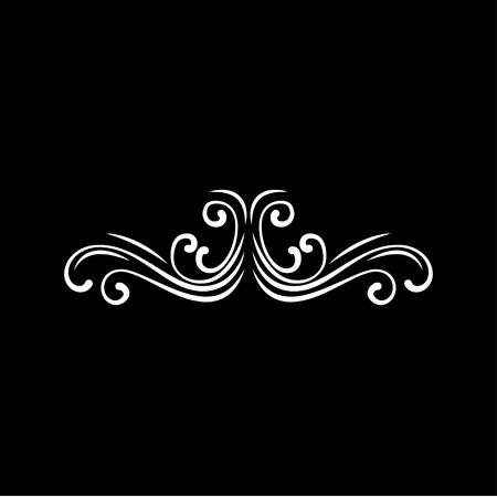 Calligraphic decorative swirl. Frame border, Pade decoration. Filigree flourish element. Wedding card design. Vector illustration