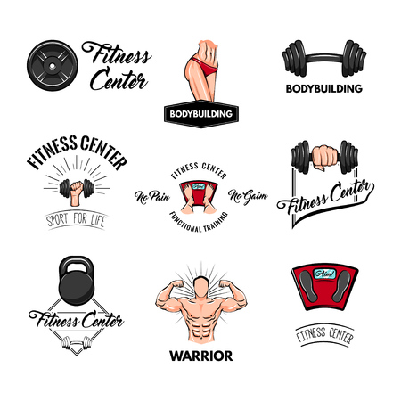 Fitness center labels set. Sport badges. Bodybuilder, Kettlebell, Dumbbell, Bardell, Floor scale, Bodybuilding weigths. Sport equipment collections Vector illustration