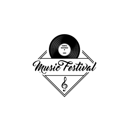 Vinyl record with treble clef for Music Festival template.