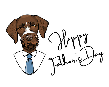 German Wirehaired Pointer dog for Fathers day greeting card. Vectores