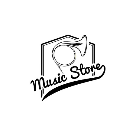French horn icon with Music store typography emblem. Illustration