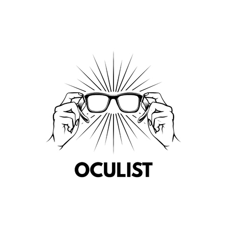 Oculist label typography emblem design with Beams and Hands holding glasses isolated on white background.