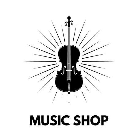 Violin icon with Beams and Music shop typography design.