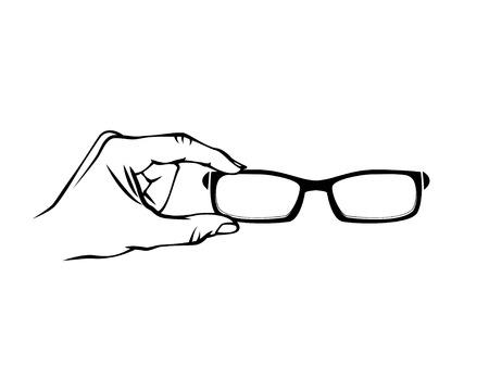 Glasses Optician icon. Hand. Vision Of Eyesight. Eye Care Concept. Hold hands Glasses. Vector illustration. Ilustracja