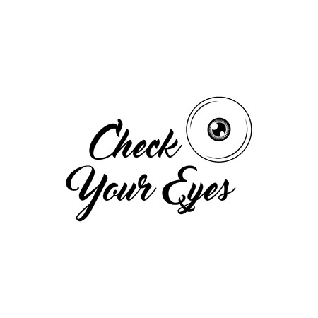 Eye icon with Check your eyes lettering. Eyesight badge. Vector illustration Çizim