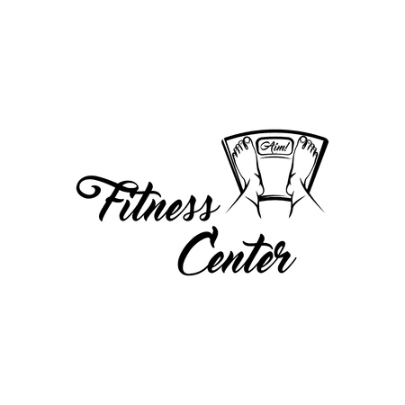 Floor scale icon. Fitness center emblem label. Feet on weighing scales. Vector illustration Çizim