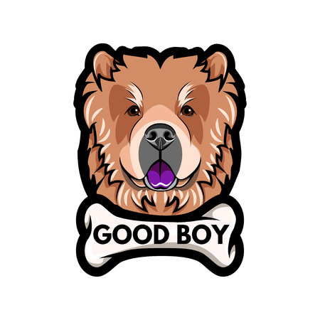 Chow Chow dog breed with Bone and Good boy inscription.