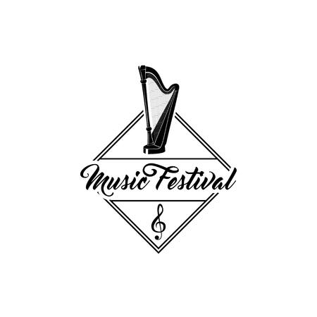 Harp music instrument for Music Festival label emblem with Treble clef illustration Illustration