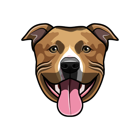 Staffordshire Terrier dog head illustration.  イラスト・ベクター素材