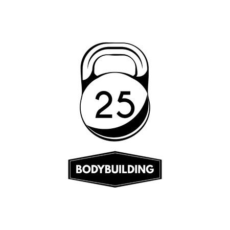 Kettlebell icon, Bodybuilding badge. Sport equipment. Fitness emblem Vector illustration Illustration