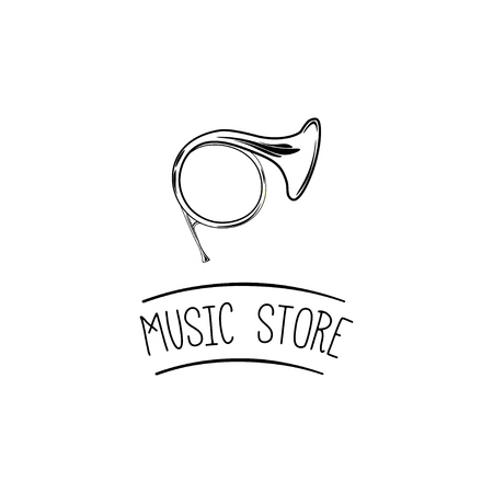 Horn icon. Music store label. Music shop logo. Wind Musical Instrument. Vector illustration