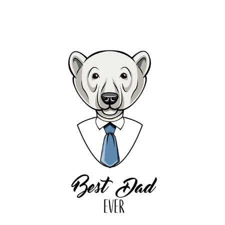 Polar Bear Dad. Fathers day card. Mens shirt, Tie. Best Dad ever text. Dad greeting. Greeting card. Vector illustration