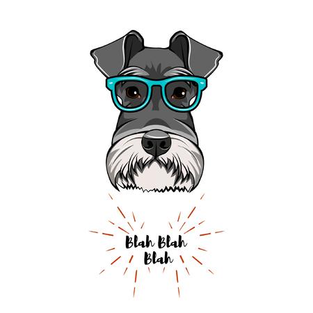 Schnauzer Geek. Dog nerd. Smart glasses. Dog portrait. Vector illustration