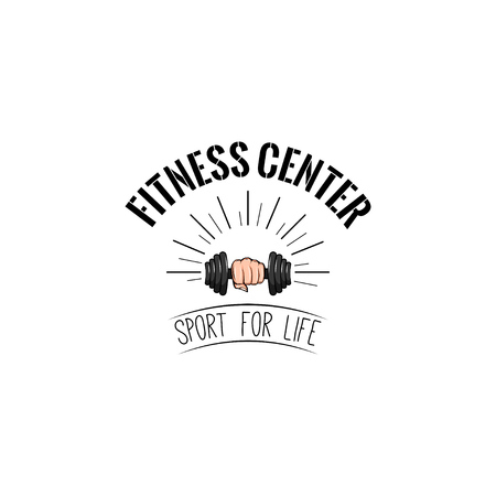 Dumbbell icon. Fitness center logo label. Sport badge. Dumbbell in fist. Sport for life inscription. Vector illustration. Illustration