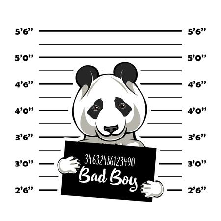 Panda criminal. Police banner. Arrest photo. Police placard, Police mugshot, lineup. Police department banner. Bear offender. Panda bear Vector illustration
