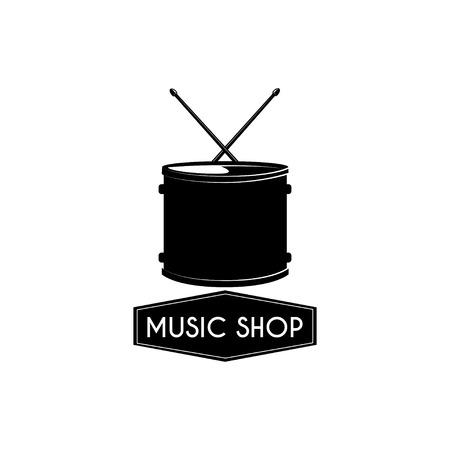 Drum icon. Music shop emblem logo label. Musical instrument. Vector illustration Çizim