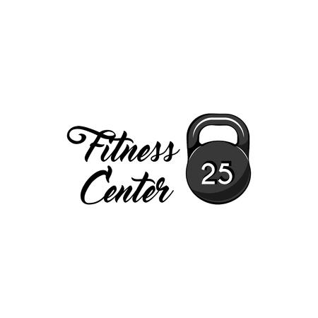 Kettlebell icon. Fitness center emblem logo label. Sport equipment. Vector illustration