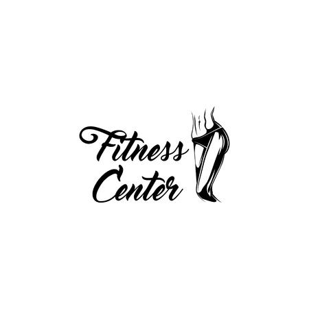 Muscular female body. Fitness center label emblem logo. Athletic women. Vector illustration Illustration